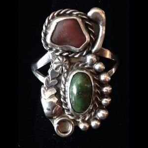 Native American Turquoise Sterling Silver Ring 7